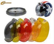 3-snap Open Face Helmet Visor Vintage Retro Motorcycle Helmet Bubble Shield Visor Lens Peak for bitwell helmets