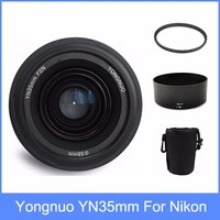 Yongnuo yn35 YN35mm F2 lens Wide angle Large Aperture Fixed Auto Focus Lens + Lens Hood +lens bag + 58mm UV filter For Nikon