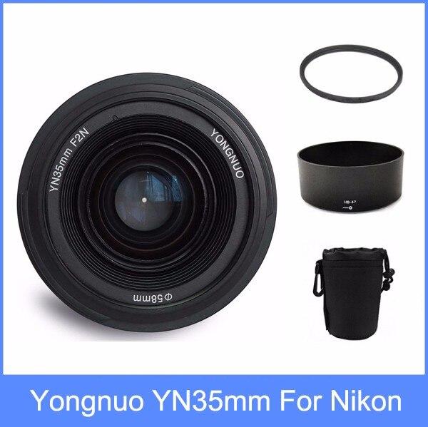 Yongnuo yn35 YN35mm F2 lente gran angular gran apertura fija lente de enfoque automático + parasol + lente + 58mm filtro UV para Nikon
