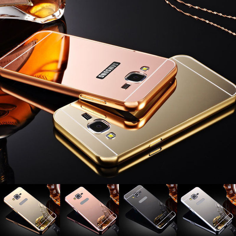 Etui For Samsung Galaxy J5 J7 2016 J3 J510 J710 Luxury Gold Plating Armor Aluminum Metal Frame + Mirror Acrylic Case Back Cover