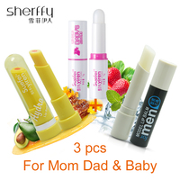 Lip Balm 3Pcs Set For Family Women Men Babies Moisturizing Lip Balm Cute Makeup Collagen Essence