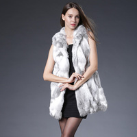2017 Real Fur Coat Long Solid Sleeveless Vest New Genuine Vest With Hooded Real Silm Waistcoats Winter Jacket Plus Size S 3xl
