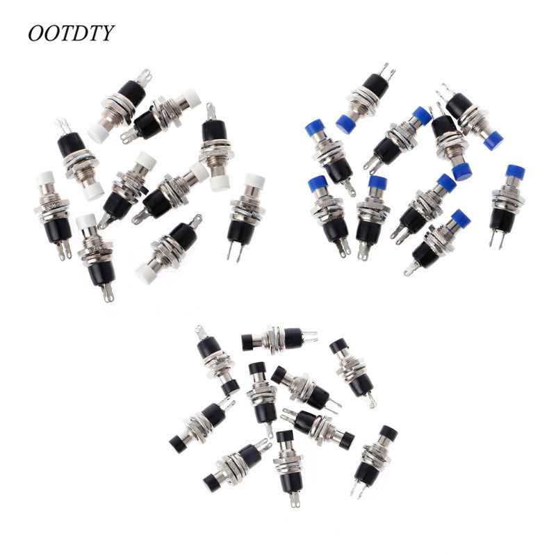 ootdty 10 pcs 7mm 2 pins on  off spst momentary push button switch 250v ac 1a 125v ac 3a