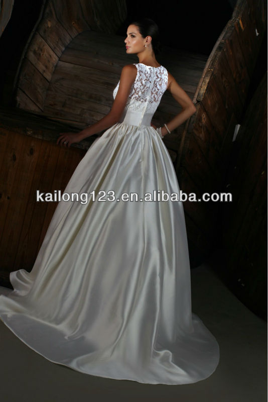 Attractive Scoop Neckline Sleeveless Court Train Lace Bodice Wide Waistband  Satin Ball Gown Wedding Dresses-in Wedding Dresses from Weddings   Events  on ... 795114f96525