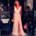 2015 los más populares vestido de festa sin mangas del v-cuello del A-line largo de baile vestidos de noche de la gasa vestidos