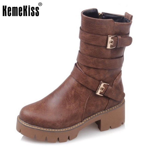 Women's Vintage Buckle Mid Calf Martin Round Toe Boots