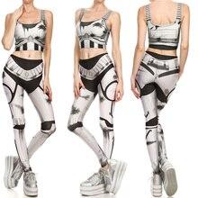 Sexy Girl Leggins Bullet Marks Mecha Iron Man Printed Elastic Slim Fitness Women Jogging Sport Gym Leggings Pants +Tops One Set