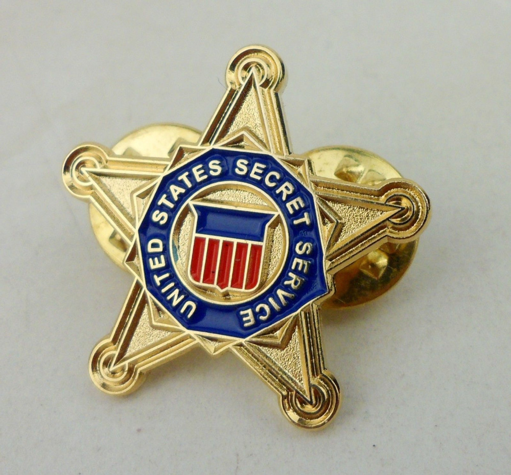 US New Red//White//Blue Secret Service Lapel Pin USSS Gold Star