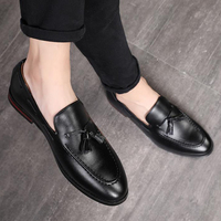 New 2019 Mens Black Dress Shoes Classic Brown Leather Formal Shoes Tassel Loafers Men Handmade Slip On Oxford Shoes Plus Size