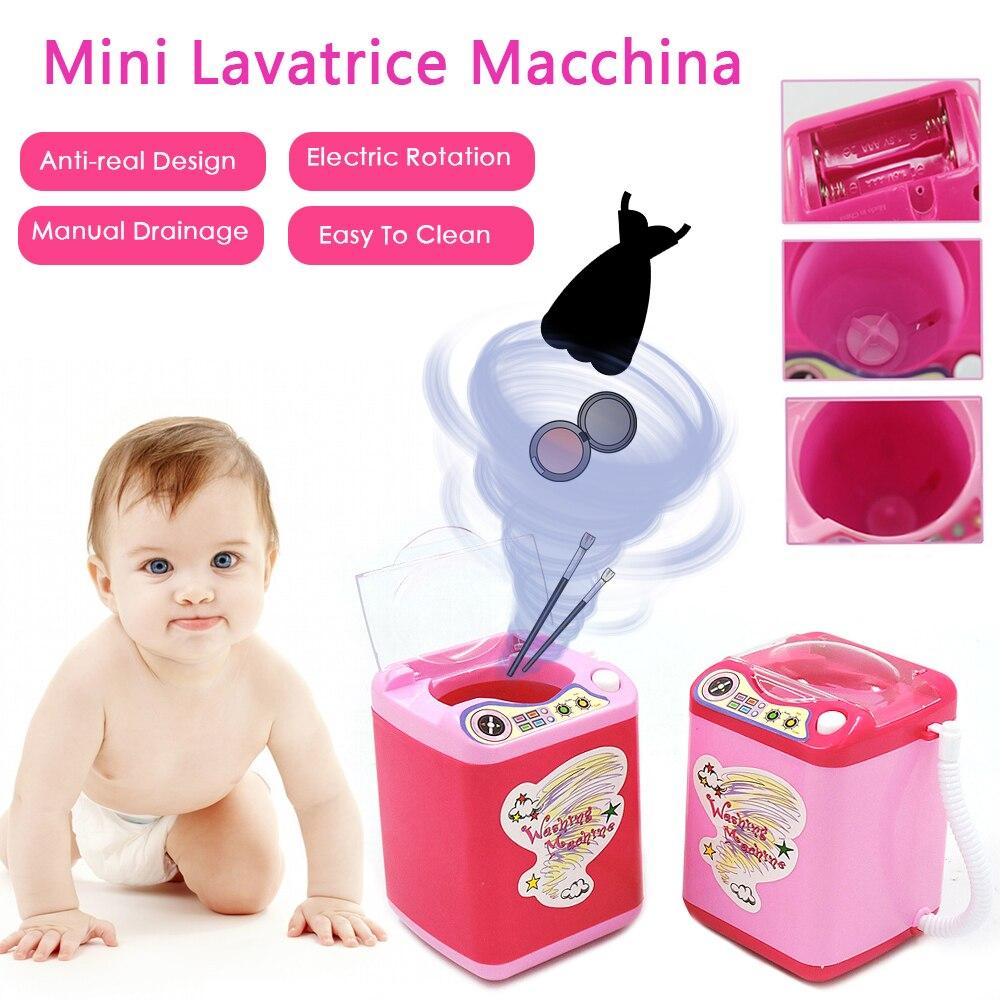 2019 Mini Simulation Children Play Pretend Cute Cosmetic Puff Electric Washing Machine Makeup Brush Cleaner Kids Furniture Toys
