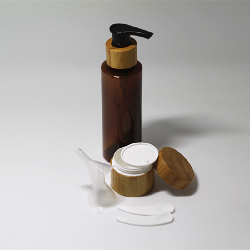 Free Shipment Empty 1pc 120ml Plastic Lotion Bottle  1 Pc 20 G Bamboo Cosmetic Jar With Free Gifts