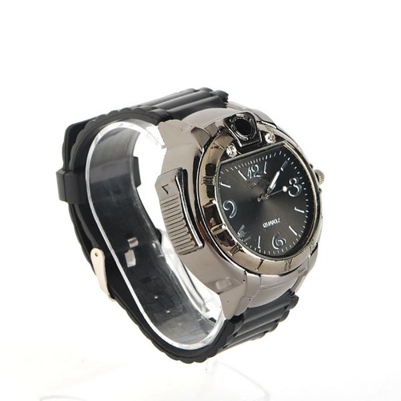 Cigarette Lighter Watch Man Automatic Sport Watches Military Novelty Refillable Gas Cigarette Cigar Clock Rubber AHM07 1pcs