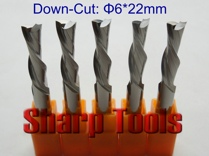Sharp DOWN CUT 6*22mm 2 Flute CNC Carbide End Mill Bits Milling Tools Cutter, PVC Acrylic MDF Wood Cutting Tools for Machining
