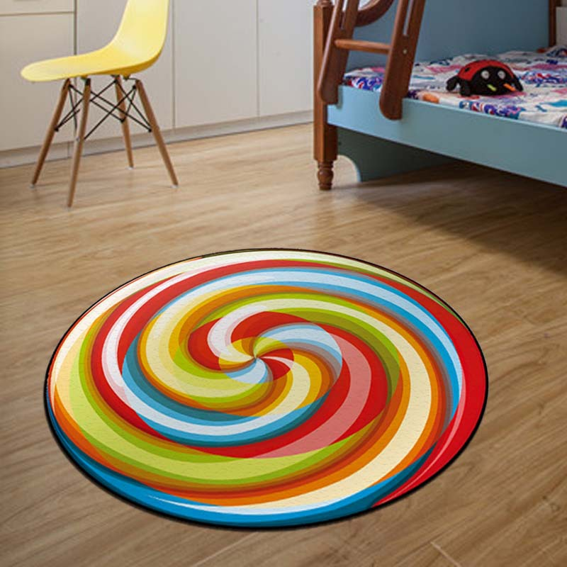Colorful 3D Pattern Round Carpets For Living Room Home Decor Child Roon Rug Kids Bedroom Floor Mats Non-slip Baby Crawling Mats