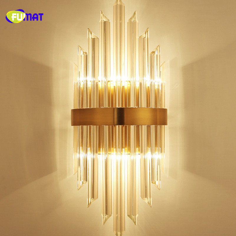 FUMAT Modern Minimalist Clear K9 Crystal Glass Stainess Steel LED Wall Lamp Luxury Delicate For Dining
