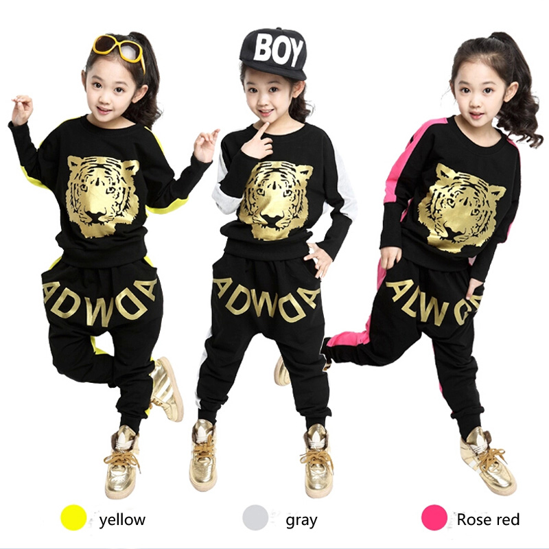 2016 Spring/Autumn Girls Clothing Set Tiger Print   New Kids Girls Sports Suit Long Sleeve Top & Harem Pants Sets hot sale new 2014 spring autumn girls cartoon spider man suit boy long sleeve pants clothing set high quality baby kids casual clothing