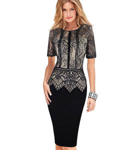 Fashion Womens Dress Vestidos Plus Size Fitted Bodycon Dress Lace Short Sleeve 386