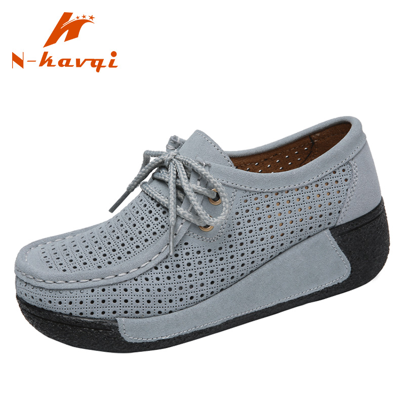 NKAVQI Woman Casual Shoes Ladies Cow   Suede     Leather   Loafers Women Lace Up Breathable Hollow Flat Shoes Female Moccasins Mujer