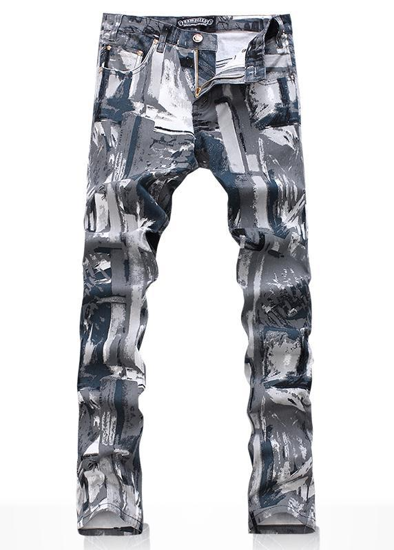 Spring Camouflage Printed painting pants cotton fashion true jeans men famous brand mens jeans pants skinny