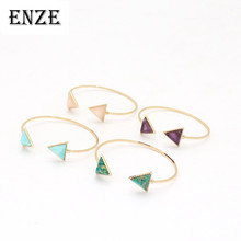 ENZE fashion new metal bracelet green colored open triangle for women and girls accessories exquisite jewelry