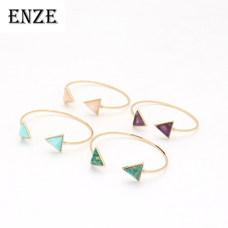 ENZE fashion new metal font b bracelet b font pink green colored open triangle for women