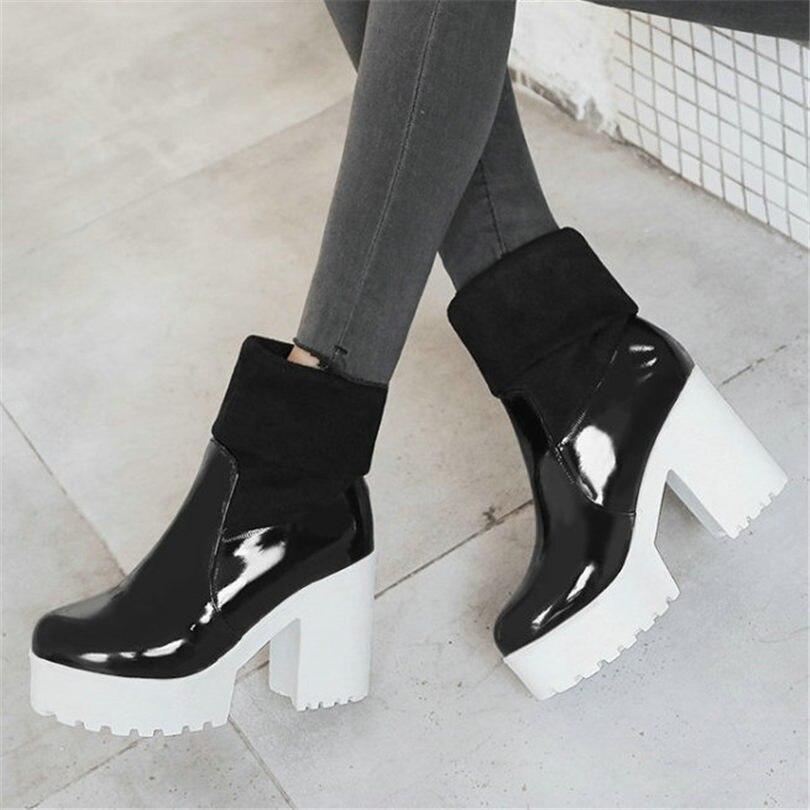 Noir chaussures hautes femmes en cuir verni Chunky talons hauts bottines Punk pompes chaussures bout rond hiver plate-forme chaussures décontractées