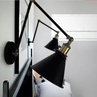 Creative Nostalgia Decorative Wall Lamp Flexible Arm Vintage Black Iron Wall Light For Bedroom Bedside Restaurant Cafe Wall Lamp