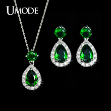UMODE New Bijoux Top Grade Green CZ Water Drop Earrings & Pendant Necklaces For Women Cute Jewelry Set Fashion Jewelry AUS0022C