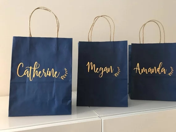 Personalized Name Laurel Wedding Bridesmaid Gift Bags Kraft Navy Blue Paper Bachelorette Clutches Tote Bags Bridal Shower Decor