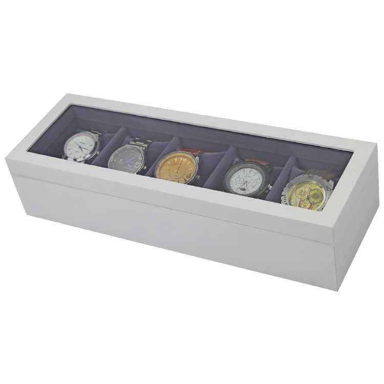 Diseño de lujo para logotipo personalizado 2018 la más nueva moda Muted blanco de madera 5 ranuras cajas de reloj negro terciopelo cojín de almacenamiento caja
