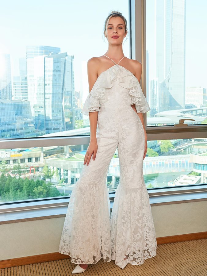 Us 210 59 Lace Open Shoulder Wedding Jumpsuits In Wedding Dresses From Weddings Events On Aliexpress