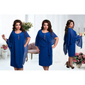 2017 New Designer Women Dress Vestidos 6XL Plus Size Knee Lenght False 2 Pieces Sexy Loose Casual Solid Plus Size Dress Maxi