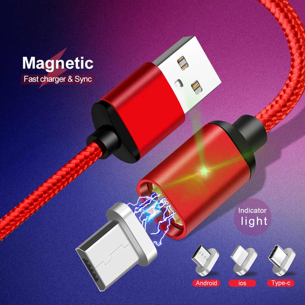 أولاف المصغّر usb كابل مغناطيسي المغناطيس سريعة تهمة 2.4A USB نوع C كابل للهاتف البيانات كابلات الروبوت المحمول كابل شحن سريع