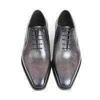 Gray Patina Handmade Oxford Shoes