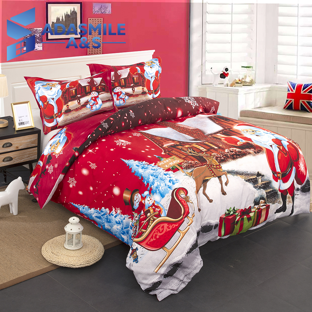Merry Christmas Bed Cover Kids Bed Decor Single Double Cartoon Duvet Cover Quilt Cover Pillowcase Red Bed Linen Bedding Sets