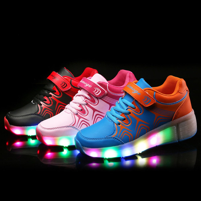 ФОТО Led Shoes Kids Lights Kids Roller Shoes Wear-resistant for Boys Girl Sneakers With Wheels Chaussure Enfant Led