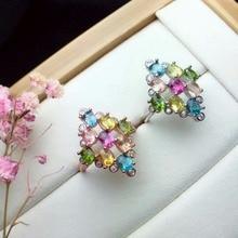 shilovem 925 sterling silver Natural tourmaline Colourful Rings fine Jewelry women trendy wedding  open wholesale cj030406agx