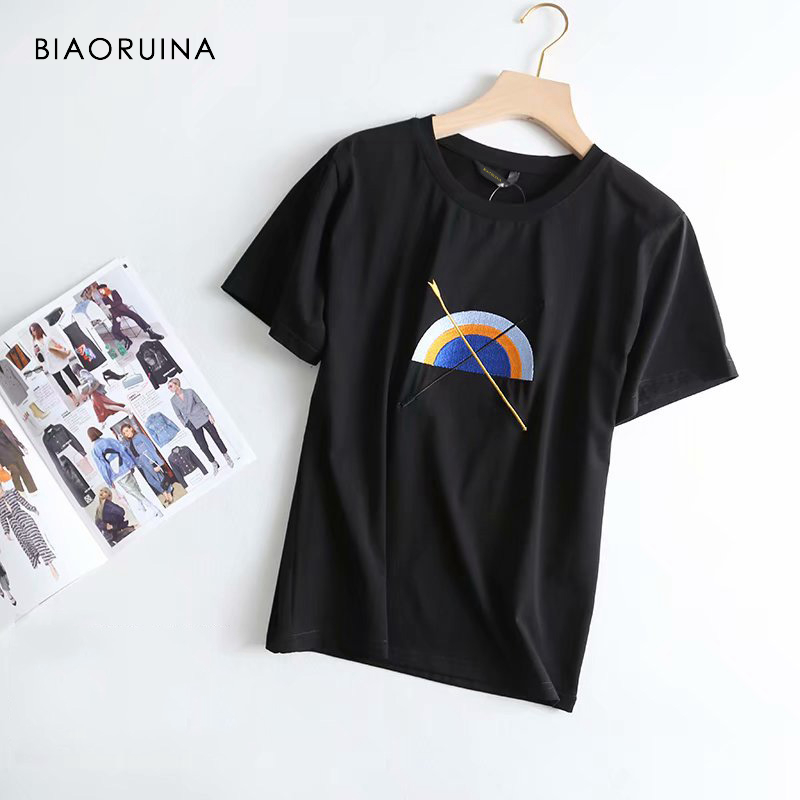 BIAORUINA Women Cotton Casual Embroidery Rainbow T shirt Short Sleeve Female Fashion Comfortable T shirt O