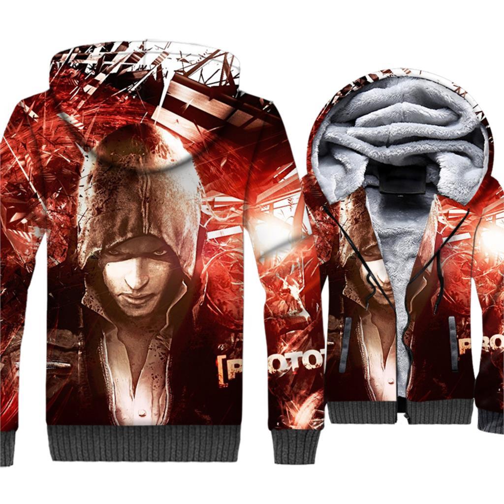 Prototype 3D Hoodies Game Jacket Cool Hoodie Men Punk Sweatshirt 2018 Winter Thick Fleece Coat Alex Mercer Streetwear For Gamer