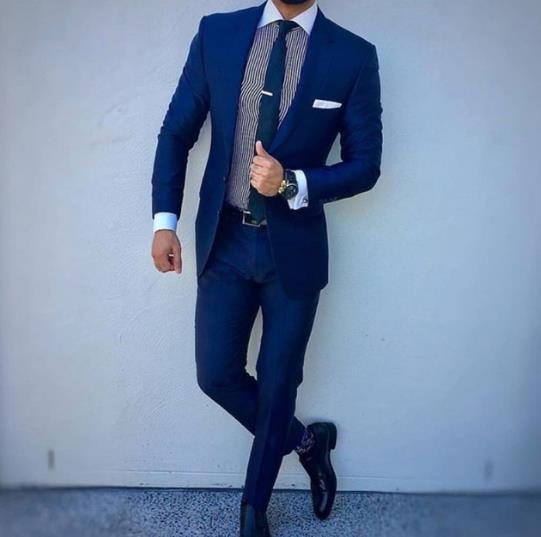 Navy Blue Black Business Men Suit Fashion Groom Wedding Tuxedo Top Lapel Decoration Fit Men's Blazer Two-piece Jacket Trousers