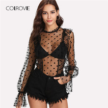5600076059 COLROVIE Polka Dot Frill Trim Sheer Blouse 2018 Summer Black Stand Collar Sexy  Blouse Shirt Transparent Ruffle Button Women Top