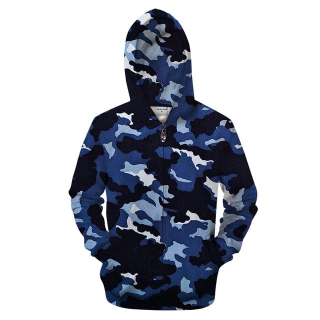 Navy Camo 3D Zip Hoodies Men Sweatshirt Casual Tracksuit Zipper Hoody Groot  Coat Pullover Jacket Streatwear 99c664e9f59