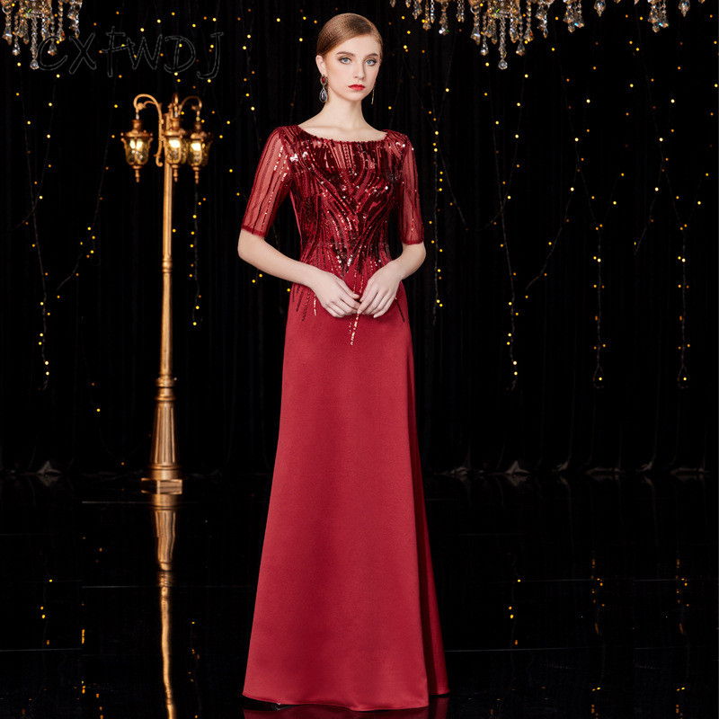 Satin rouge broderie Sequin tissu femmes tenue de soirée robes nouvelle atmosphère digne élégant col rond Noble robe formelle