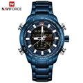 NAVIFORCE Роскошные Брендовые мужские спортивные часы  синие кварцевые светодиодные часы  мужские водонепроницаемые наручные часы  мужские вое...