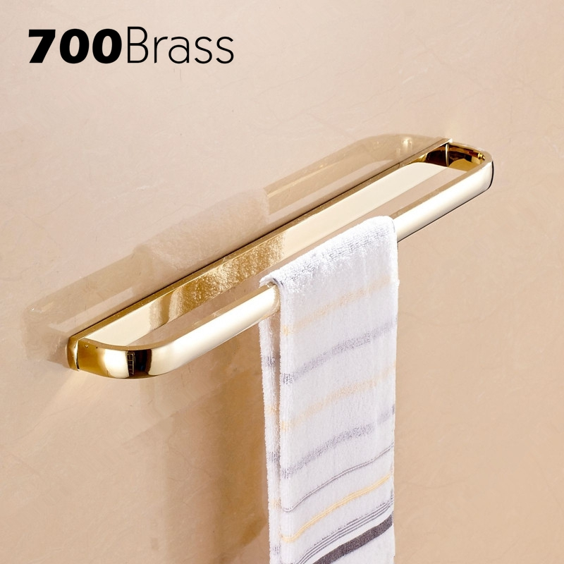 New Arrival Gold-plating Brass Single Towel Bars Rectangle Wall Mounted Towel Bars Bathroom Accessories 59cm luxury gold color brass wall mounted single towel bars towel holder restroom towel rack bathroom accessories bba843
