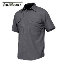 TACVASEN الرجال القمصان الملابس العسكرية سريعة الجافة قميص التكتيكية خفيفة الوزن قصيرة الأكمام البضائع العمل قميص قمصان فائدة القتالية