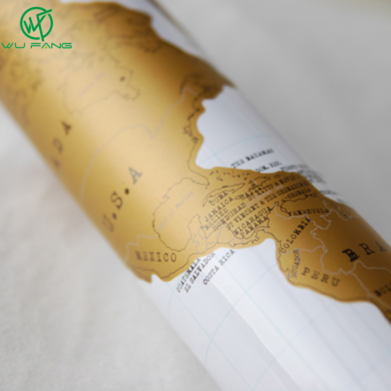 Image 4 - 1pcs Deluxe Erase Black World Map Scratch off World Map Personalized Travel Scratch for Map Room Home Decoration Wall Stickers-in Wall Stickers from Home & Garden