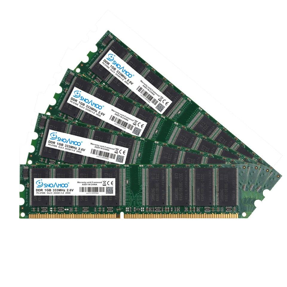 Купить с кэшбэком SNOAMOO DDR 2pcsx1GB 400MHz PC3200 184PIN CL3 RAM High Quality Memory For Desktop DIMM Lifetime Warranty