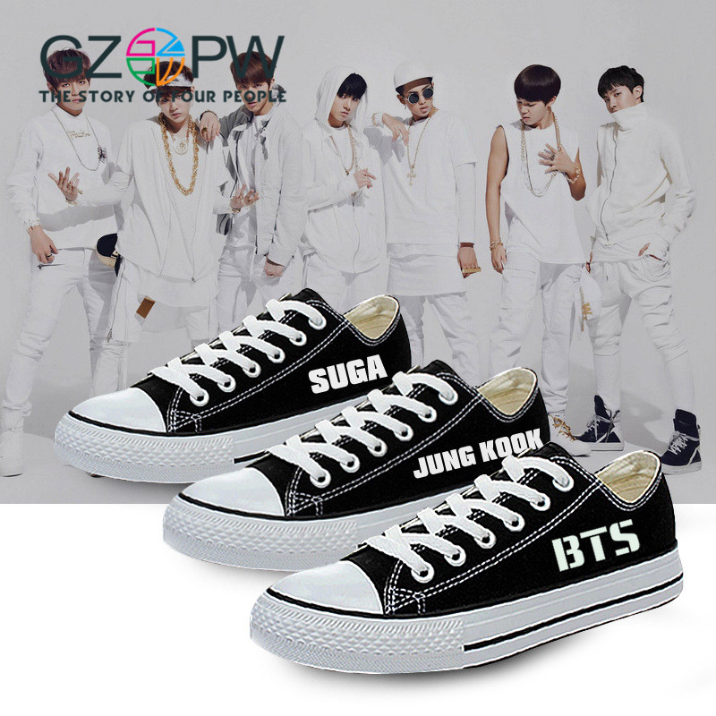 GZPW low canvas shoes BTS cosplay shoes 2017 Hot sale men and classic casual shoes new fashion couple shoes big size 35-44 hot sale new products for women s shoes flat sheet canvas shoes camouflage roses multicolor big yards 42