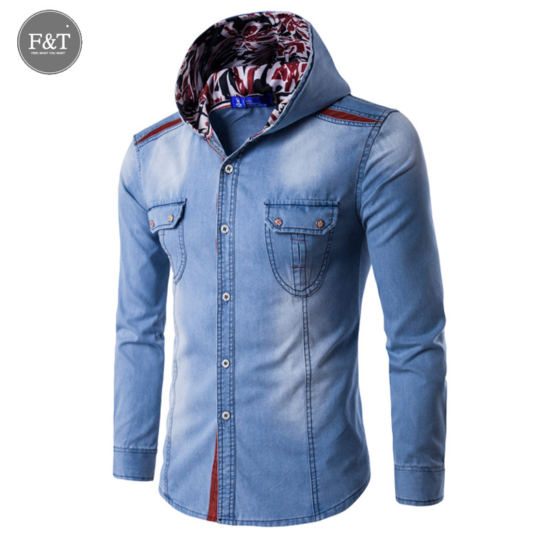[Asian Size] 2016 Large Size Denim Shirt Men Cotton Brand Clothing Jeans Camisa Social Masculina Long Sleeve Blue Chemise Homme